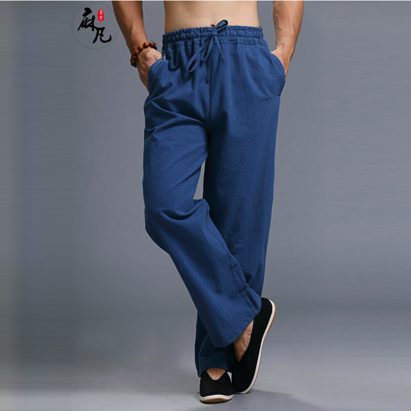 Hisenky китайские штаны для кунг-фу, льняные хлопковые мужские повседневные штаны с эластичной резинкой на талии, спортивные штаны, прямые брюк...