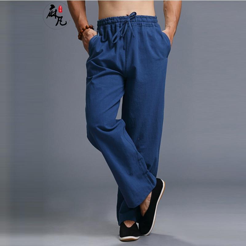 Hisenky 중국어 쿵후 바지 리넨 코튼 남성 캐주얼 바지 탄성 허리 트레이너 스트레이트 레그 바지 Pantalon Joggers Men