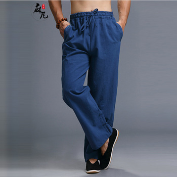 Hisenky Chinese KungFu Pants Linen Cotton Men's Casual Pants Elastic Waist Sweatpants Straight Leg Trousers Pantalon Joggers Men