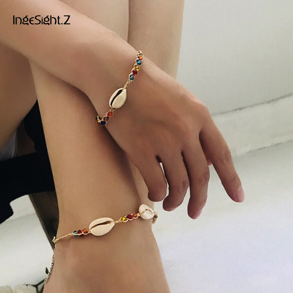IngeSight.Z Boho Handmade Natural Sea Shell Coulful Beads Bracelet for Fashion Women Hand Chain Cuff Accessories Jewelry female