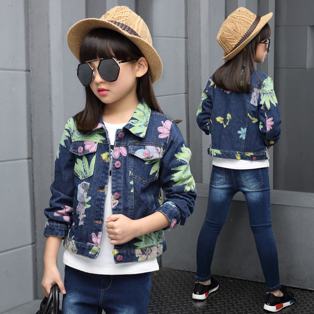 2016 Primavera otoño moda clásica impresión clásica chaqueta de mezclilla de la muchacha de los niños niño grande sun flower patch pocket jacket