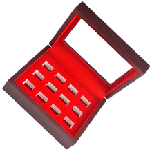 MagiDeal Wooden Box Glass Lid 12 Hole Slot for Sports Fans Athlete Championship Ring Red Interior Antique Collection