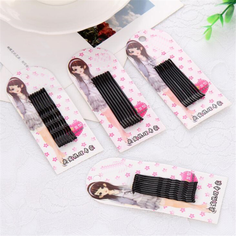 Wholesale Female Barrettes 4.5cm/6cm length Black Hairpin for hairstyle hair claw 10pcs/card hair jewelry accessories for tiaras
