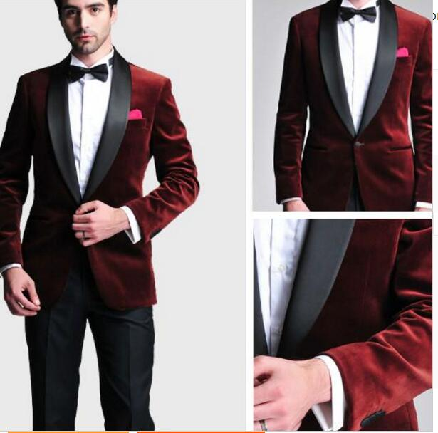 1f81489475a5 Burgundy Velvet Blazer Black Custom Made Man Suit Slim Fit Satin Lapel  Groom Tuxedos Mens Wedding Prom Party Suits (Jacket+Pants-in Suits from  Men's ...