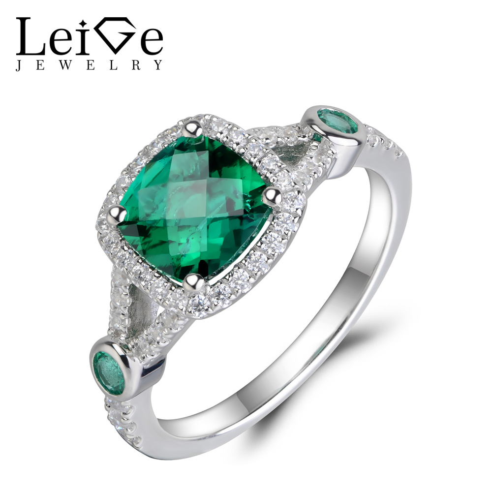 Leige Jewelry Silver 925 Emerald Ring Green Gemstone Wedding Engagement  Rings For Women Multistone Anniversary Gift