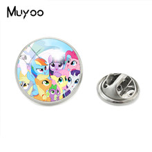 2018 New Fashion Lovely Style Cartoon My Little Jewelry Lapel Pins Glass Cabochon Cute Magic Rainbow Horse Collar Pins(China)