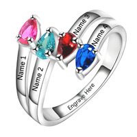 Ручной работы персонализированные белого золота с 4 имитация камнях кольца для мамы матери кольцо для familyfor любителей