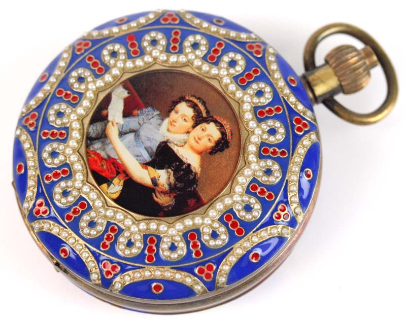 лучшая цена wholesale OLD 55mm ARCHAIZE Palace COPPER PAINTING MECHANICAL POCKET WATCH freeship