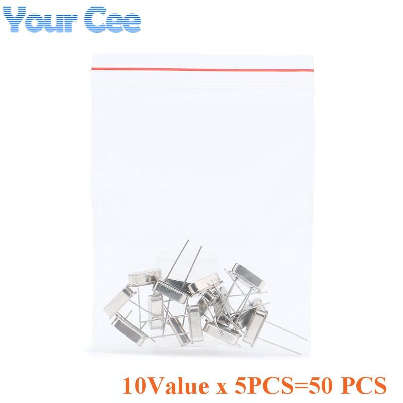 50pcs 10Value 32.768KHz Quartz Crystal Resonator 24MHz DIY Quartz Crystal Oscillator Assorted Kit Set Electronic Components Set Crystal Resonator