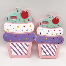 New 3D Cherry Cupcake Ice Cream Cartoon Capa Soft Silicone Phone Case Cover For iPhone 7 7Plus 5 5S SE 6 6G 6S Plus 6SPlus Coque gelato pique tasty ice cream soft silicone back cover for iphone 5s 5 green