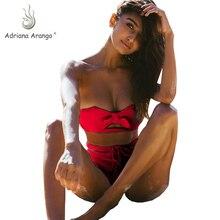 Адриана Аранго 2019 купальники для женские, с бантиком бандо Бикини шнуровке красный Высокая талия купальный костюм, летняя пляжная одежда Biquini