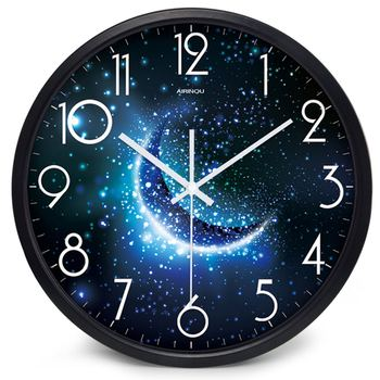 Airinou the Moon Starry Sky and Mars 3 Styles ,Glass&Metal Silent Movement Wall Clock,Children Room Museum Theme Park  Decorate 20