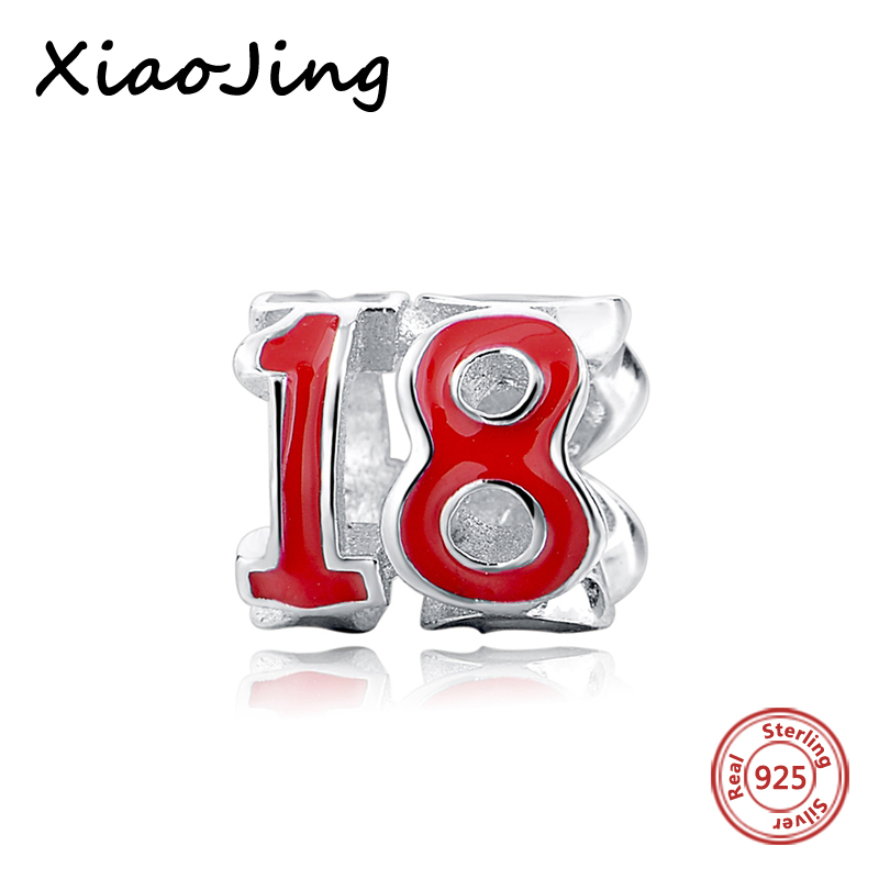 100% 925 silver pandora charm with red enamel number 18 Fit Authentic pendant Bracelet and necklace Jewelry Making Women Gifts