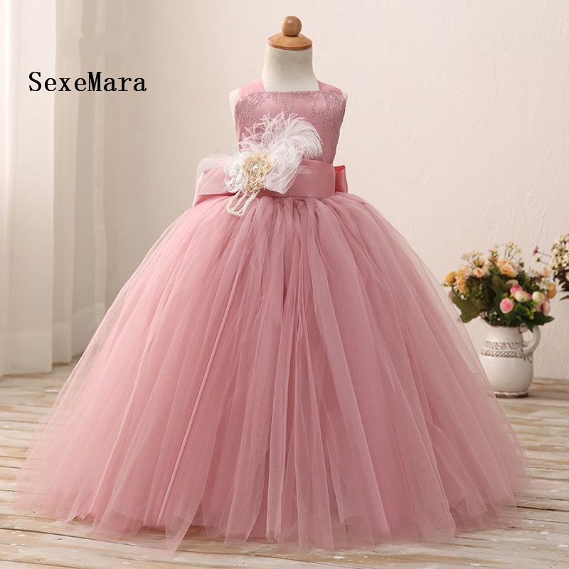 цена на Real Picture Tutu Dress Dusty Pink Flower Girl Dress Floor Length Soft Tulle Baby Girls Birthday Dress Pageant Party Gown