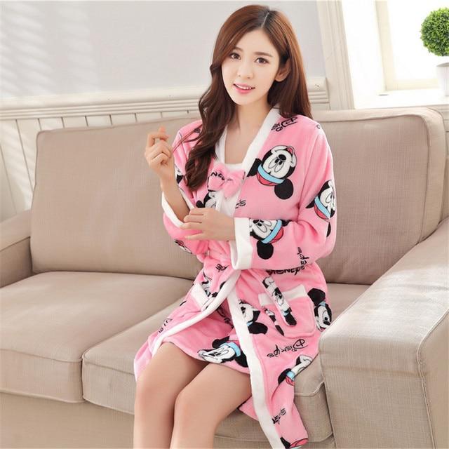 New Autumn/Winter Cozy flannel Bathrobe sleepwear sets warm thickening Long sleeve Nightgowns Home Suit(Bathrobes + Sling skirt)