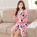 Nuevo Otoño/Invierno Cozy ropa de dormir Albornoz de franela establece engrosamiento caliente Camisones de manga Larga Traje a Casa (Albornoces + Sling falda)