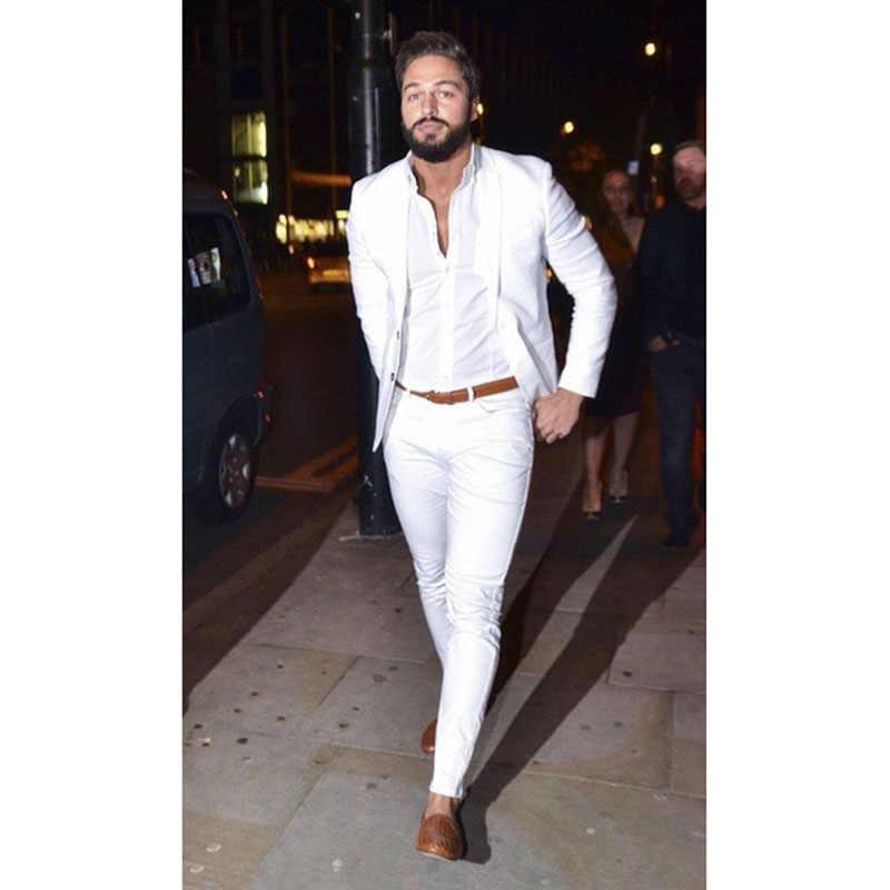 2017ストリートファッションホワイト男性スーツカジュアルternoスリムフィット2ピースタキシードカスタムブレザーオフィス男性作業着用(ジャケット+パンツ)
