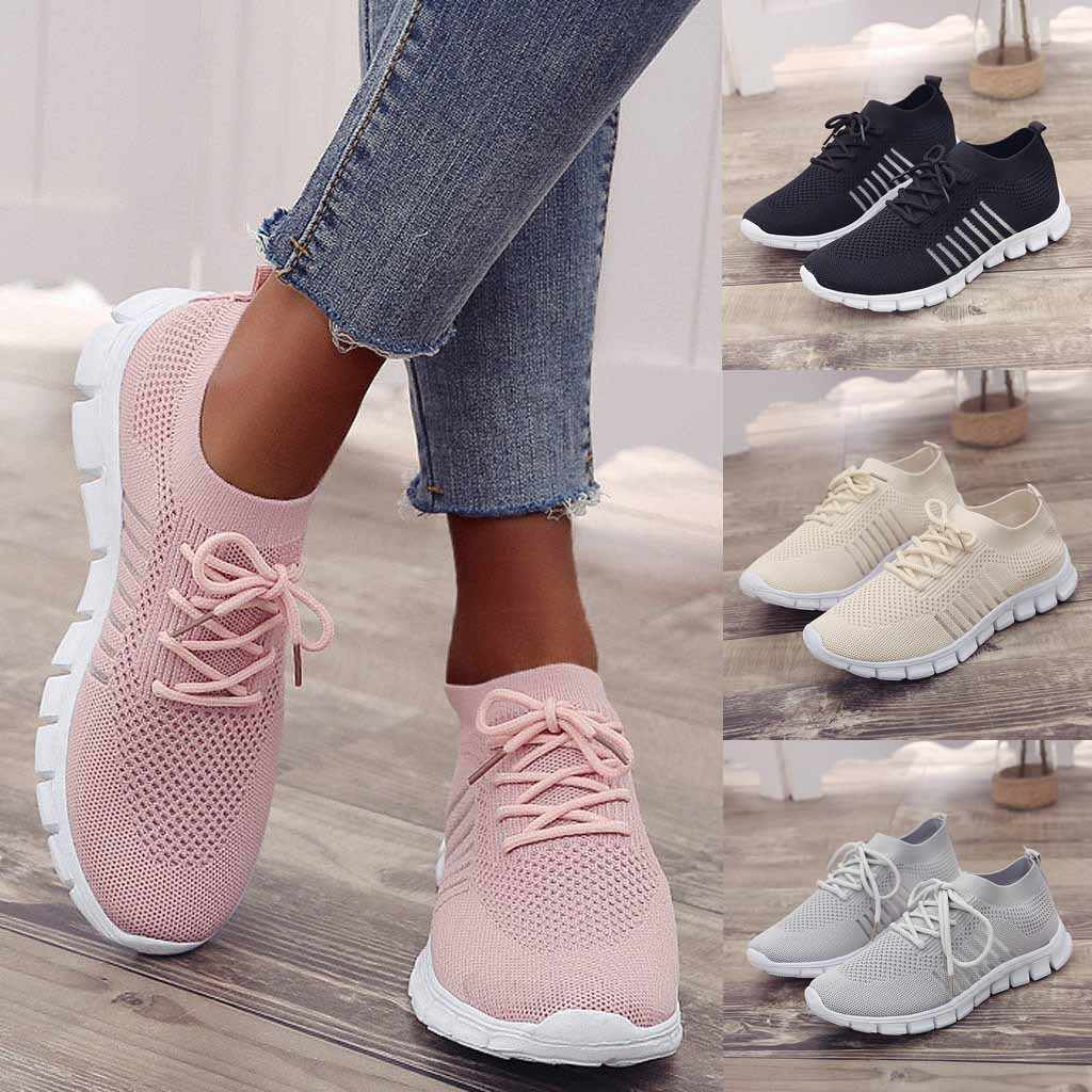 Women's breathable sneakers fashion Flying Weaving Socks Shoes Sneakers Casual Shoes Student Running Shoes sports shoes #39