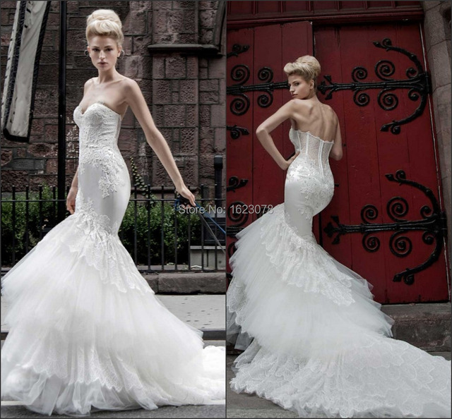 2015 New Pnina Tornai Mermaid Wedding Dresses Sweetheart Appliques ...