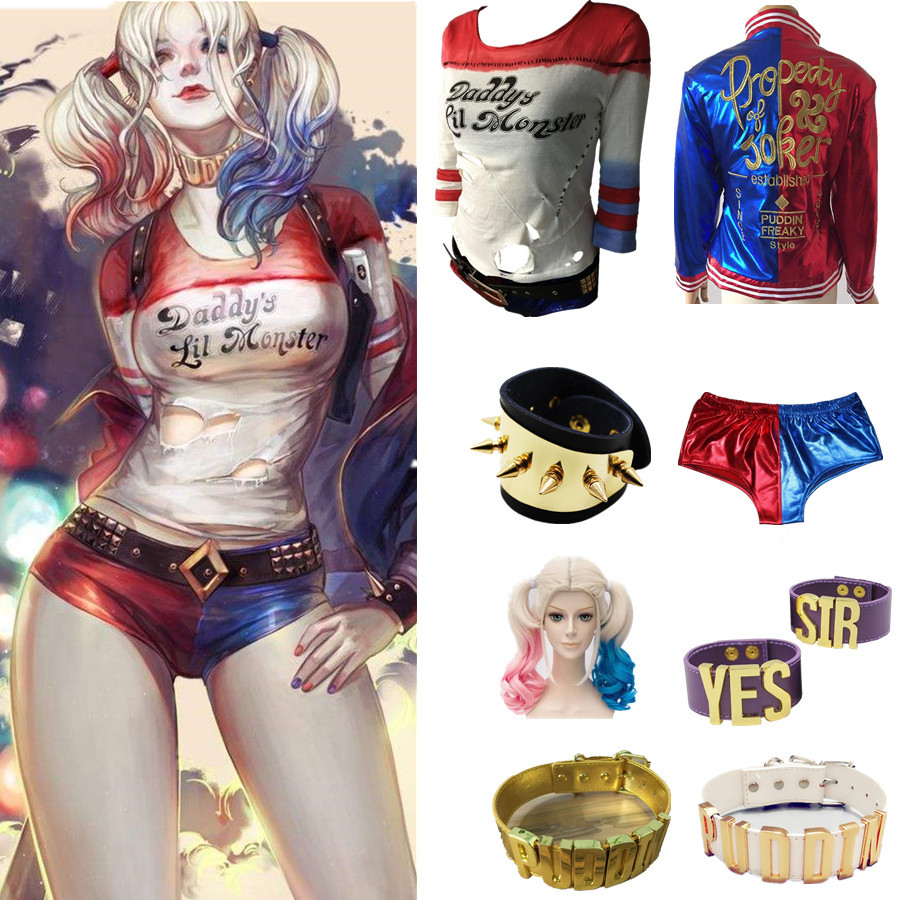 Suicide Squad Harley Quinn Cosplay Costume T-shirt Coat Jacket Set Accessory Earrings Collar Bracelet Belt Gloves