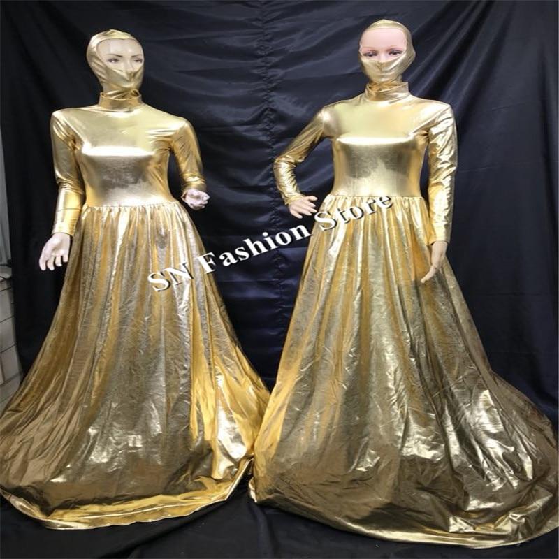 EC45 Ballroom dance stage show costumes catwalk performance clothes glod color large skirt dj singer club party dresses disco dj