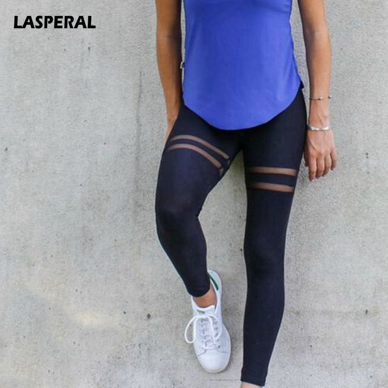 LASPERAL Fitness Women Yoga Tights Mesh Patchwork Quick Dry Breathable Running Pants Gym Workout Sports Legging Athleisure Pant