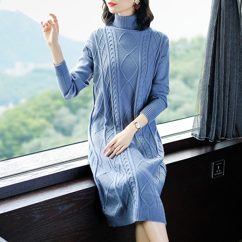 Women Knit Dress Long Plaid Sweater Winter Elegant Turtleneck Ladies Sweater Dress Pullovers