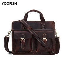 Men Genuine Leather Retro style Messenger Bag Business Casual Briefcase Crossbody bag male shoulder  free shipping