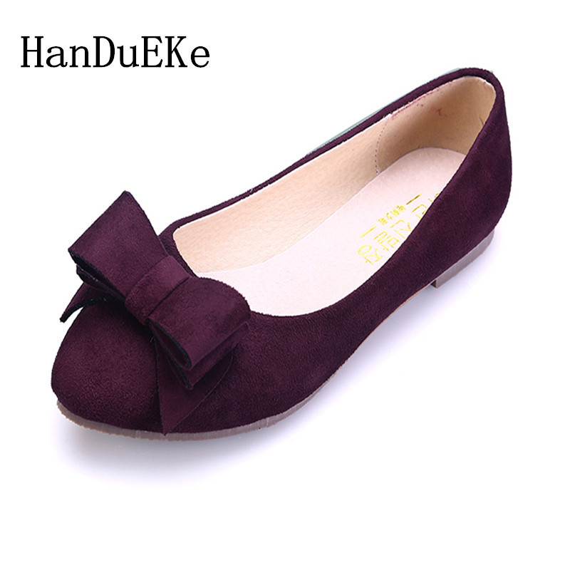 HanDuEKe 2018 Women Shoes Flat New  suede leather Shoes  Women Pointed Toe Girl Shoes 4 color fashion loafer plus size 34-43 fanyuan casual women ladies flat candy 6 color patent leather flat shoes women pointed toe flat free shipping plus size 30 49