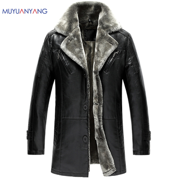 Mu Yuan Yang 4XL 5XL Men's Clothing Winter Thicken Faux Fur Leather Mens Casual Leather Jackets And Coats Large Size PU Jackets