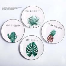 8 inch Round Green Plants Porcelain Dinner Plate Set Tableware Wholesale Ceramic Dessert Plate Dinnerware  Cake Dishes Plates