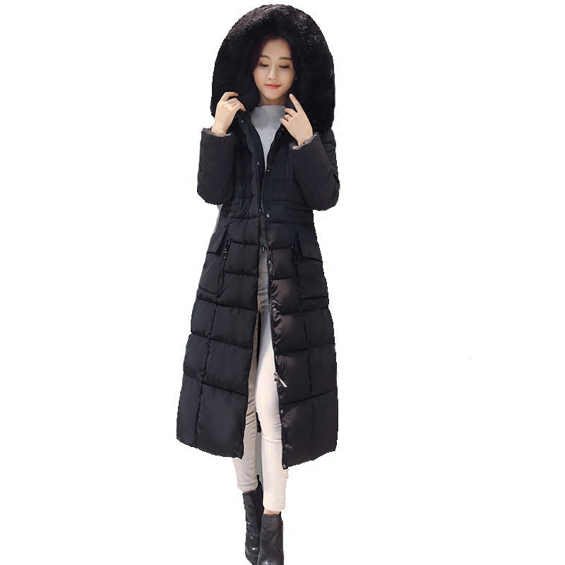 Winter Jacket Women X-Long Cotton Parka Overcoat Jaqueta Feminina Inverno Hooded Fur Collar Women Jacket Coat Plus Size C3698