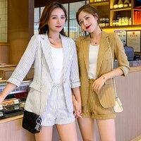 Blazer Two Piece Shorts Set 2019 Korean Office Yellow Stripe Women Outfits Fashion Clothes 2 Pc Woman Set Two Piece Clothes