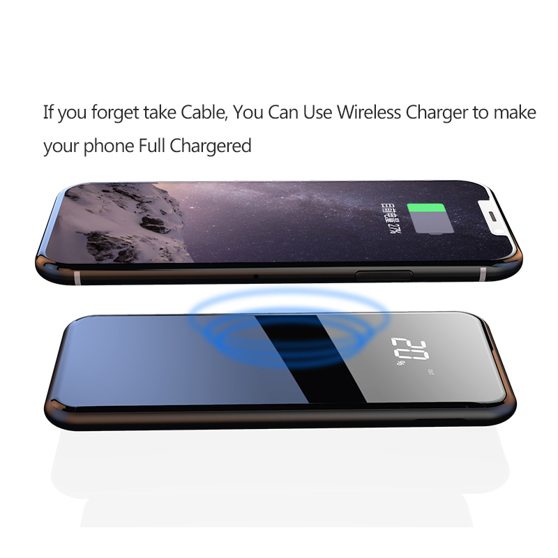 Nuovo 10000 mah Qi Wireless Charger Dual USB Accumulatori e caricabatterie di riserva per iPhone 8/X per Samsung S8 Portatile Batteria Esterna powerbank Ricarica