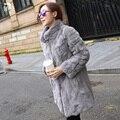 Rex rabbit fur coat largo collar del soporte de abrigo de piel de 2016 nuevas mujeres de gran tamaño de manga larga Delgado