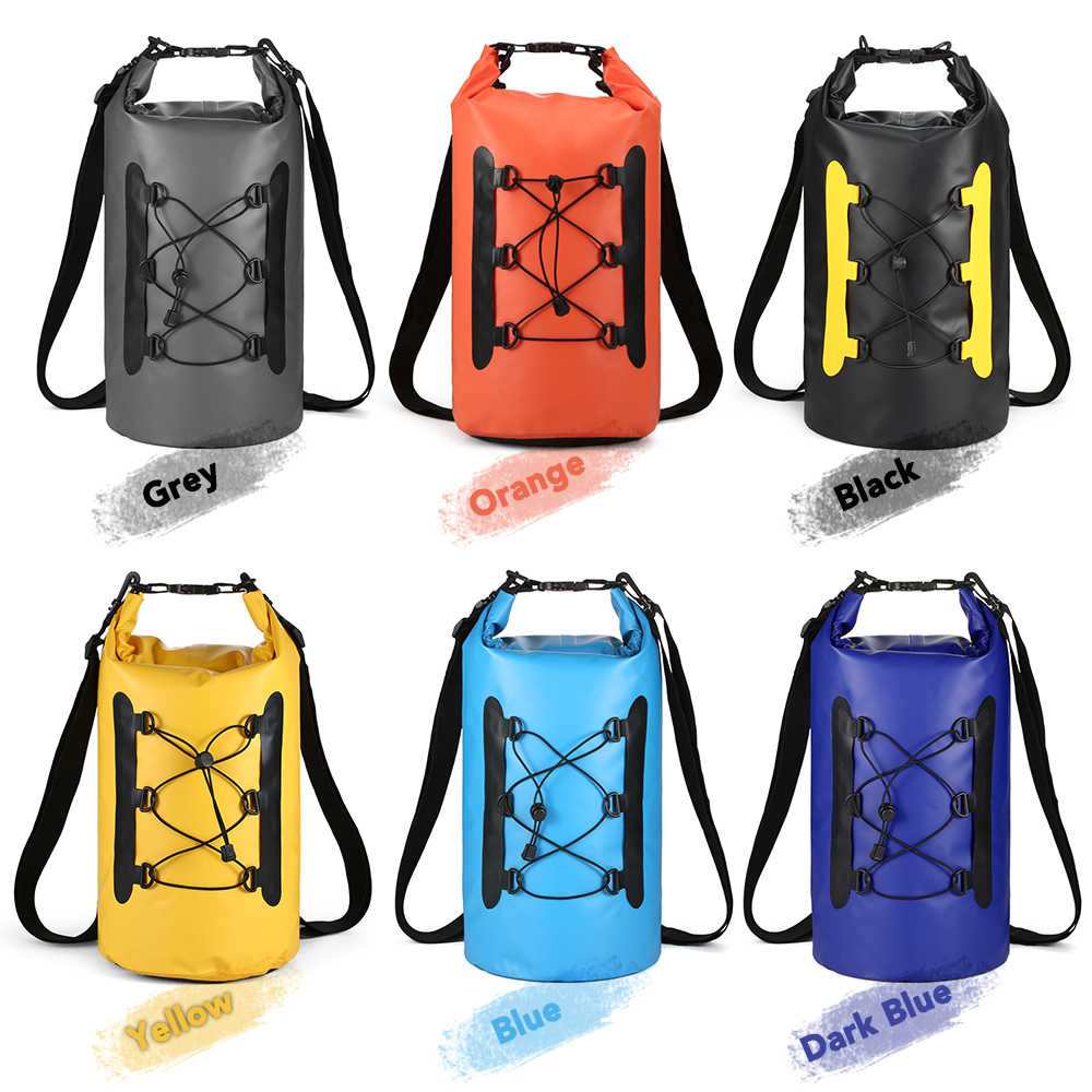 15L Waterproof Dry Bag with Phone Case Bag Roll Top Dry Sack For Kayaking X7Y2