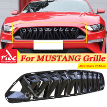 For Mustang Front Bumper Kidney Racing Grills Car-Styling ABS gloss black 1:1 Replacement Fits For Ford Mustang grill grille 18+ aps f75349h black powder coated grille replacement for select ford expedition models