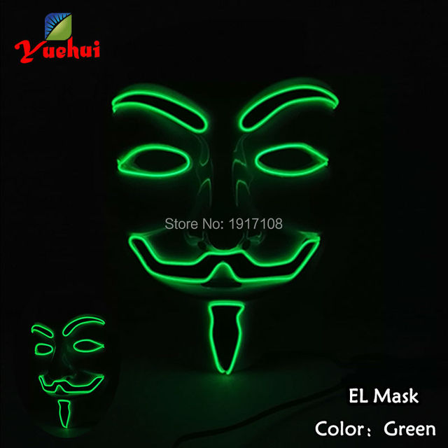 Neue Halloween 10 FARBE Beleuchtung Vendetta LED Maske EL draht ...
