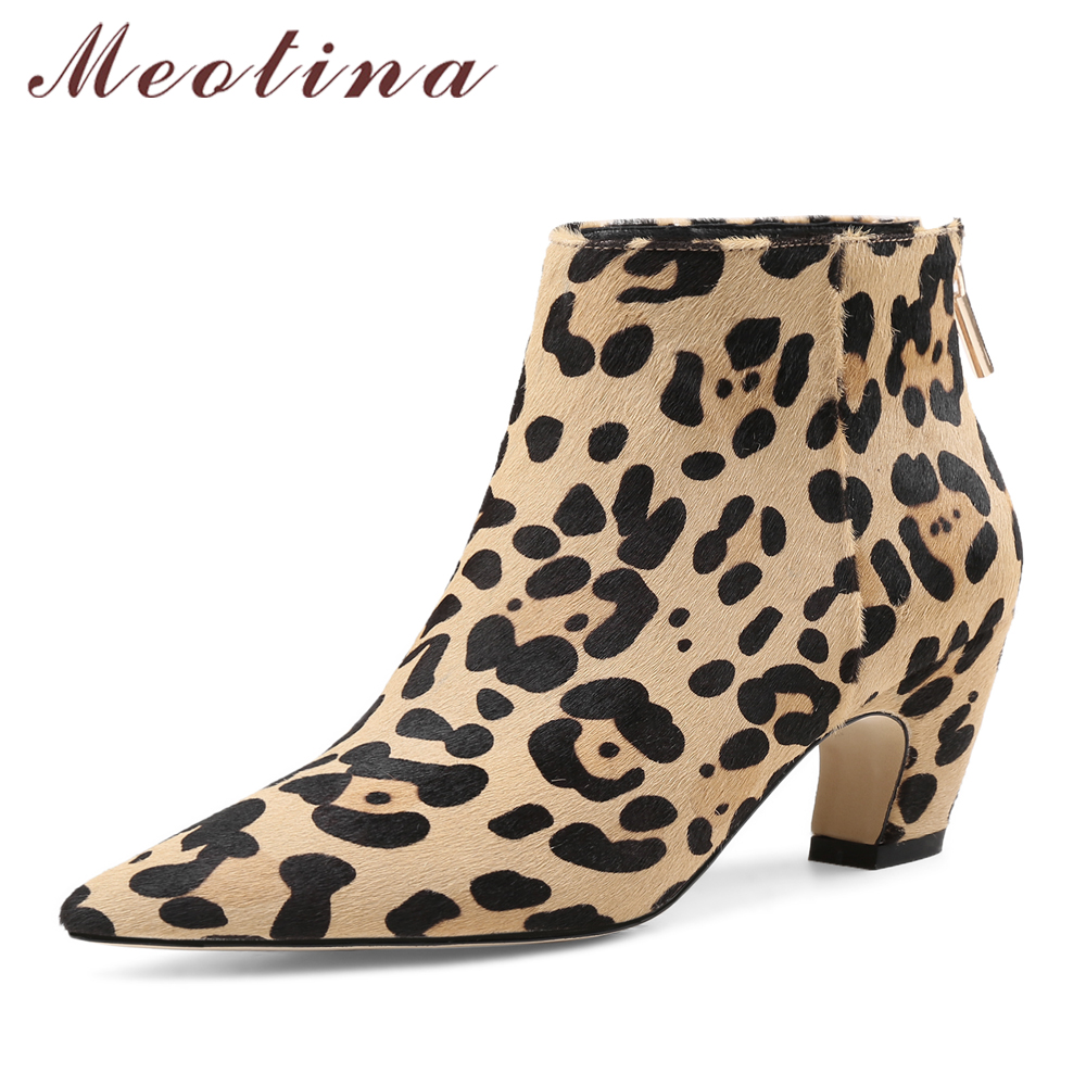 Meotina Luxury Design Women Ankle Boots Horse Hair High Heel Short Boots Zip Leopard Black Boots 2018 Spring Female Shoes Black 2018 ankle boots for women leather boots luxury designer socks shoes short female knitting weave fashion high heel boots