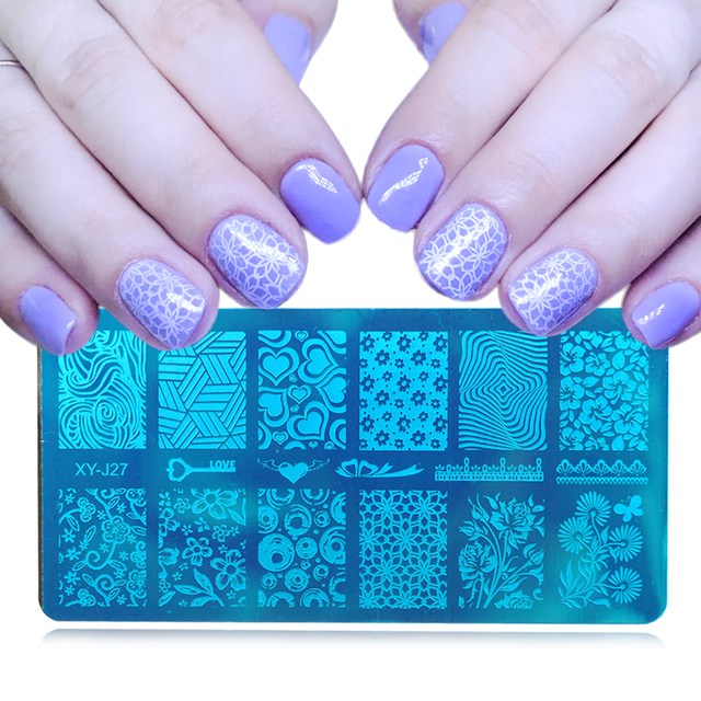 12x6cm 16 Designs Flower Cartoon Lace DIY Polish Stamping Nail Art Stamp Templates Manicure Nail Stencils Transfer Tool XYJ17-32