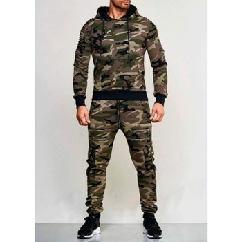 2019 Autumn New Men's Zipper Camouflage Sets Sweatpants and Hoodies Sets Male Casual Bodybuilding Fitness Tracksuit Sweatshirts 1