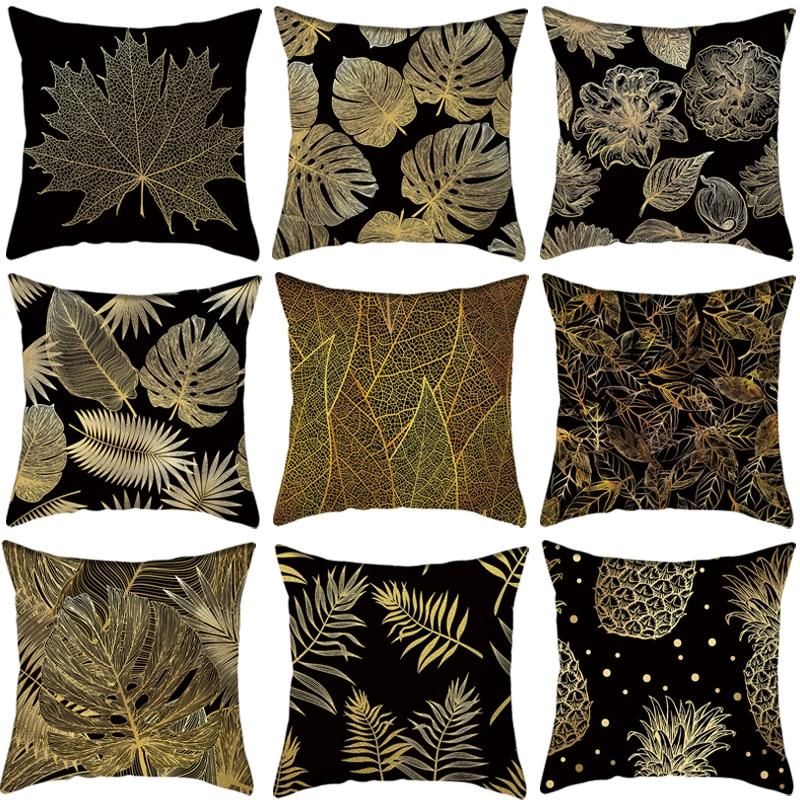 Black Golden Leaf Decorative Cushion Cover Pillow Pillowcase Polyester 45*45 Throw Pillows Home Decor Pillowcover 40839
