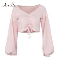 ArtSu Kobiet Z Długim Rękawem Topy V neck Lace Up Sexy Crop Top Różowy T shirt Odzież Damska Bluzki Damskie Jesień Koszulka Femme ASTS20218