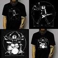 Primavera Verano ropa Top de los hombres casuales Guitarra Tambor Baterista de la banda de Música de manga corta pullover Plus Size algodón de Rock camiseta