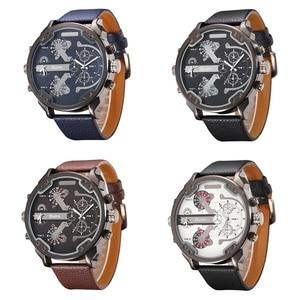 Image 5 - Oulm przesadzone duże duże zegarki na rękę mężczyźni luksusowa marka unikalny projektant kwarcowy zegarek męski ciężki pełny stalowy skórzany pasek Wrist Watch