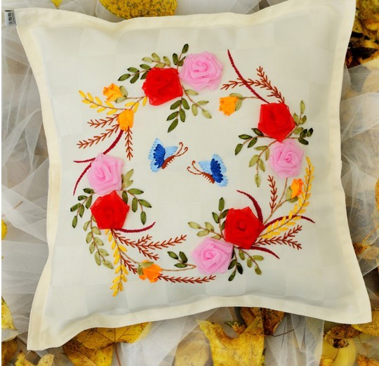 45x45cm Flower Ribbon Embroidery Textile Pillow Cushion Cover Core