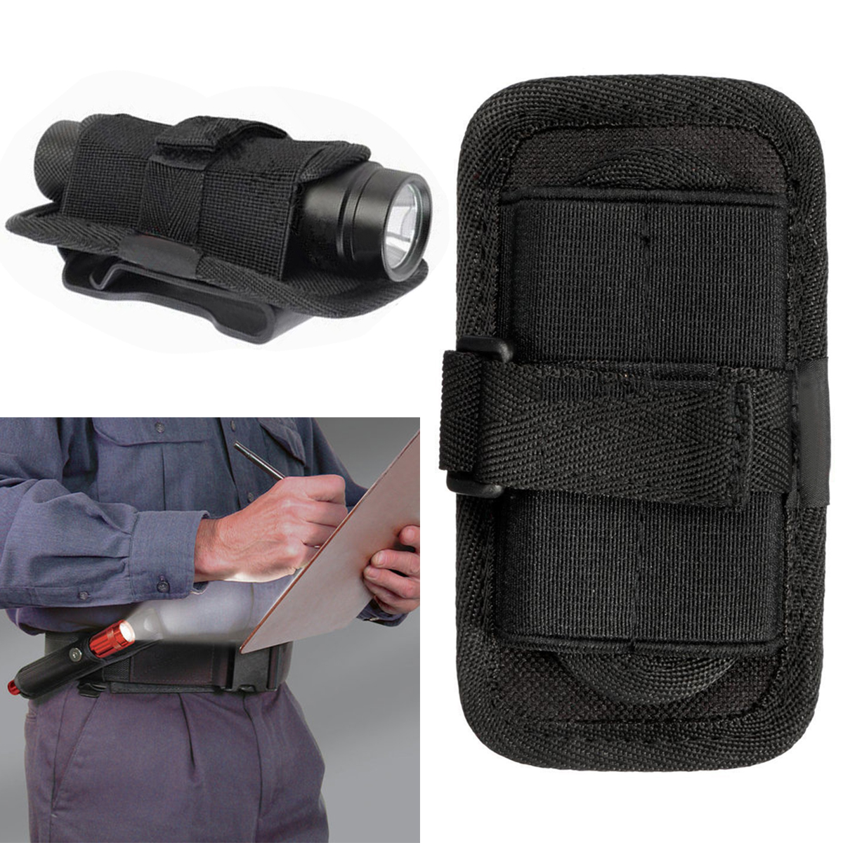 120mm Led Flashlight Torch Nylon 360 Degree Clip Pouch Hunting Torch Holster Holder Belt Bag Case Pouch For Camping Black Reasonable Price