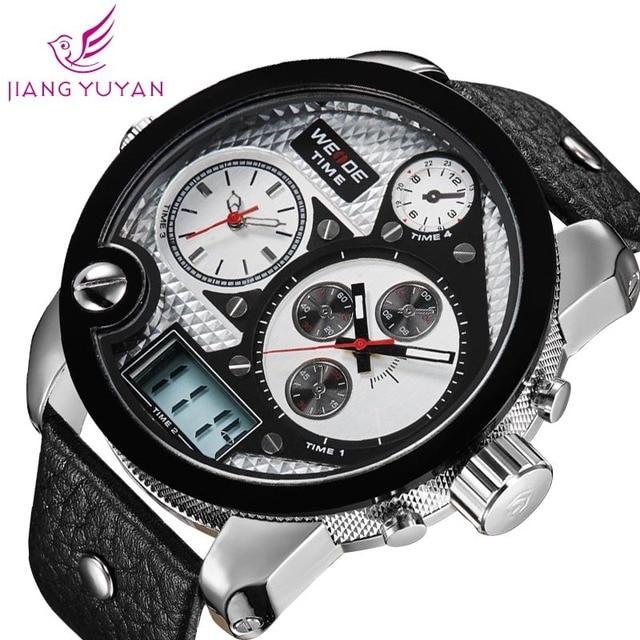 2015 WEIDE Oversized men watch analog sports watches genuine leather Japan Miyota 2035 quartz wristwatch 1 year guarantee
