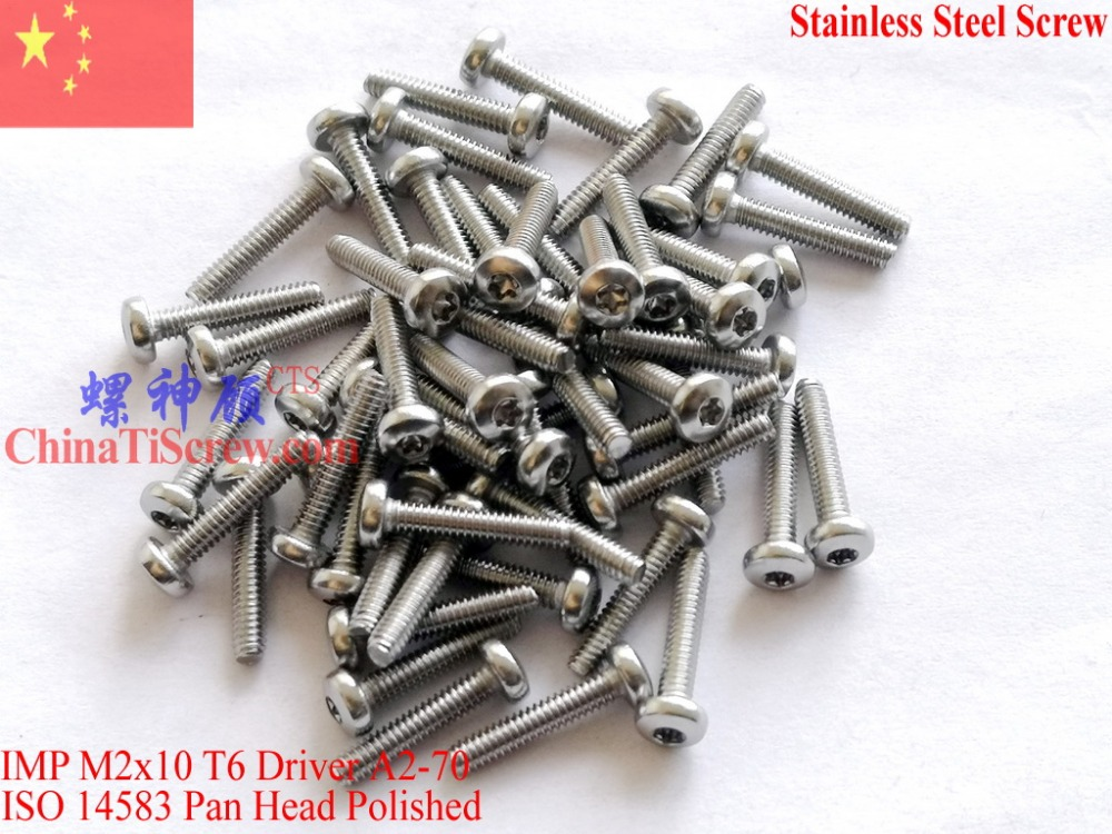 Stainless Steel Screws M2x10 ISO 14583 Pan Head Torx T6 Driver A2-70 Polished ROHS 100 pcs stainless steel sems screws m3x8 pan head 1 phillips driver polished rohs