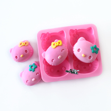 Fondant Silicone Cake Mold Kitchen Accessories 4 Cavities Hello Kitty Chocolate Gum Candy Forms Ice Tray Cute Soap Molds